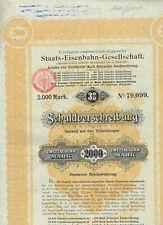 Priv. österr.- ungarische Staats-Eisenbahn-Ges., Wien 1895. 2000 Mark, gelocht,