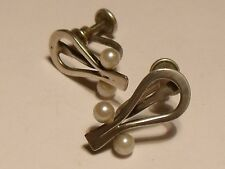 Ed Levin Vintage Sterling Silver Modernist Pearl Earrings.