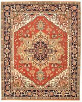 "Hand-knotted Carpet 8'0"" x 9'11"" Serapi Heritage I Dark Copper Wool Rug"