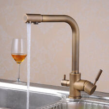 Luxury 3 Way Swivel Spout Dual Handle Kitchen Tap Sink Faucet Drink Water Spout