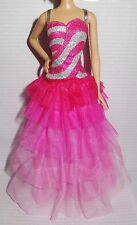 DRESS ONLY ~ FASHIONISTA ~ MATTEL BARBIE DOLL PINK SILVER GLITTER LAYERED GOWN