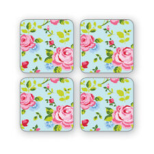 Cooksmart Pack of 4 Vintage Floral Coasters Table Mats Pretty Floral Blue Pink