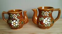 Sugar Bowl & Creamer Set Brown White Floral - Japan Handcrafted Art Decor