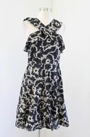 NWT Banana Republic Black Ruffle Halter Embroidered Fit and Flare Dress Size 4