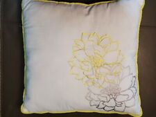 Decorative White Square Pillow Embroidered Gray/yellow Flower 15in