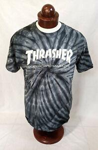 THRASHER Skateboard Magazine Short Slvd T-Shirt, Black/Gray Tie Dye, Mens L