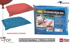 GASMATE OUTDOOR BEAN BAG 2 PERSON LOUNGER 180X146cm  500L PEACH or BLUE BNWT
