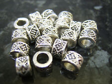 20 x Tono Argento Diamanti Anello Distanziatore Ciondolo europeo Perline