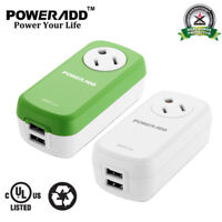360° Rotating Outlet 2 USB Charging Port Power Strip Safety UL Surge Protector