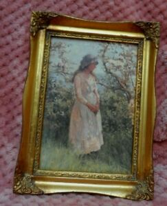 vintage Beautiful ornate wooden framed young Victorian girl cherry blossoms