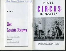 PISTE CIRCUS H. MALTER PROGRAMMA 1973