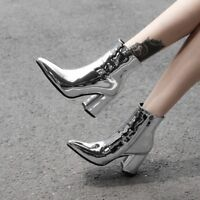 Womens Punk Ankle Boots Glitter Pointed Toe Leather Side Zip Booties High Heels
