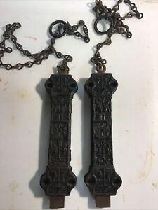 2 Victorian Eastlake Cast Iron Interior Spring Loaded Pull Chain Bolt Door Locks