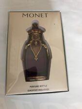 "Vintage Signed  MONET Perfume Bottle w/ Gold Design & Gems,  ""Taj Mahal"""