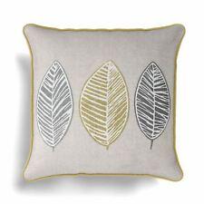 Fusion - Skandi Leaf - 100 Cotton Cushion Cover - 43x43 Cm Ochre Yellow