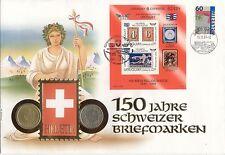 enveloppe SUISSE SWITZERLAND SWISS SCHWEIZ HELVETIA avec 2 pièces monnaie timbre