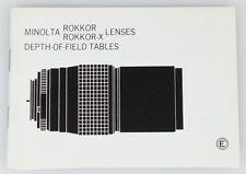 MINOLTA ROKKOR/ROKKOR-X LENSES DEPTH OF FIELD TABLES