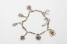 Antique 1920s Platinum 2ct Sapphire Diamond NATURAL Pearl Charm Bracelet RARE