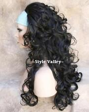 Black 3/4 Fall Hairpiece Layered Long Curly Half  Wig Hair piece  color #1B
