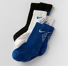 Nike SX4715-942 Boys 3-pk Crew Performance Socks Blue White Black S 3~5Y M 5~7Y