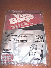2 Kenmore Upright Vacuum Cleaner Bags 5002 / 5006 Singer SST Upright SUB-1 Bags