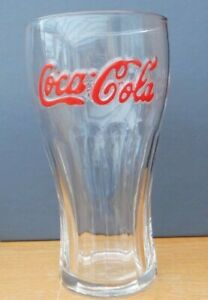 COCA COLA GLASS RED LETTERING EMBOSSED HEIGHT 6¼ INCHES (16CM) 2 AVAIL