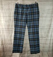 Nike Golf Womens Pants Sz 10 Blue Black Plaid Mid Rise