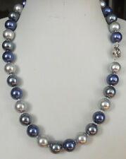 """10MM Blue Gray Multicolor South Sea shell pearl necklace 18"""" LL003"""