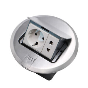 EU Standard Round Pop Up Floor Socket + Socket Aluminum Electrical Outlet 2 Way