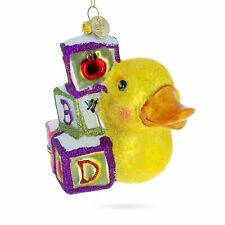 Yellow Duck with ABC Blocks Blown Glass Christmas Ornament