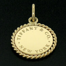 Authentic Tiffany & Co 18K Yellow Gold Twist Round Engravable Disk Charm Pendant