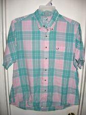 Flying Scotsman Pastel Green Blue Pink White Plaid Vintage Shirt Top Pocket XL