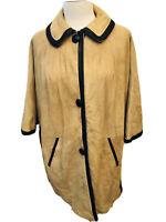 Vintage Women's MCM Mod Cape Poncho Soft Tan Suede & Brown Leather Trim Jacket