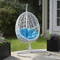 White Resin Wicker Blue Cushion Hanging Egg Patio Swing Outdoor Home Furniture