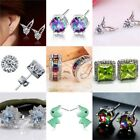 Fashion Women's 925 Silver Ear Stud Gemstone Hoop Earrings Wedding Party Jewelry