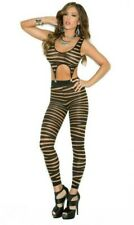 Striped Footless Bodystocking Garter Clips Detachable Top Cut Out Two Piece 1642