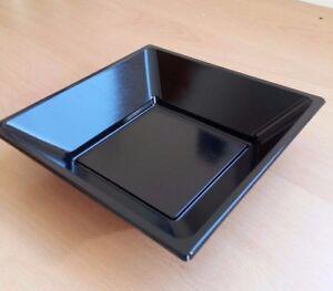 "10 x Black 7"" 18cm Square Disposable Plastic Bowls Party Wedding Buffet BBQ"