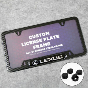 For Lexus Sport Front or Rear Carbon Fiber Texture License Plate Frame Cover