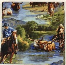 "Horses, Cowboys, Rodeo. (32) 10"" Quality Quilting Fabric Squares"