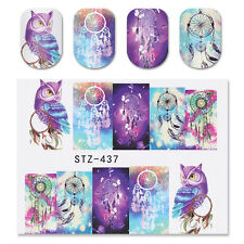2 Sheets Nail Art Water Transfer Decal Dreamcatcher Owl Style Manicure STZ-437