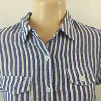 Rebellion Womens Tops Cap Sleeve Button Up Shirt Striped Blue White Size L Caree