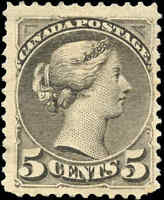 Mint H Canada F+ Scott #38 5c 1876 Small Queen Issue Stamp