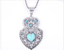 Tibet Silver Hollow Flower Crystal Turquoise Owl Shaped Pendant Necklace Jewelry