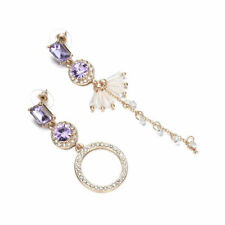 Women Asymmetrical Rhinestone Long Dangle Drop Ear Stud Earrings Jewelry Gifts