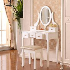Retro White Makeup Dresser Dressing Table Stool Set 5 Drawers Bedroom Furniture