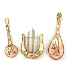 3 Vtg Pink Capiz Shell Musical Instrument Ornaments Roses Shabby Victorian Chic