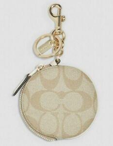 COACH Signature Circular Coin Pouch Bag Charm Key Fob Light KHAKI 89987 BNWT