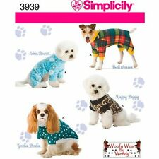 New Simplicity 3939 Pattern Woofy Wear  Dog Clothes Coats Jackets S, M, L