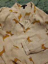 Forever 21 Cream Black dots Button Down Shirt Blouse Gold Daschund Dog Size M