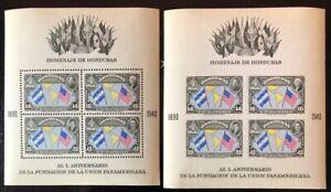 Honduras #C99-100 Perf & Imperf Sheets of 4 1940 MNH-